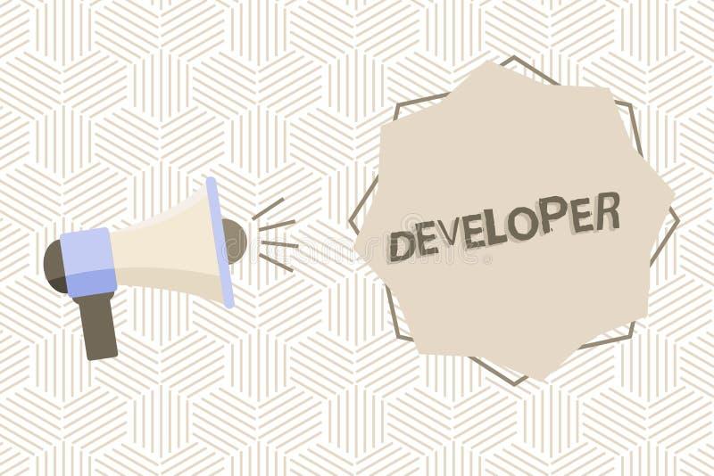 显示开发商的文本标志 开发的概念性照片展示或事增长或成熟某事扩音机 皇族释放例证