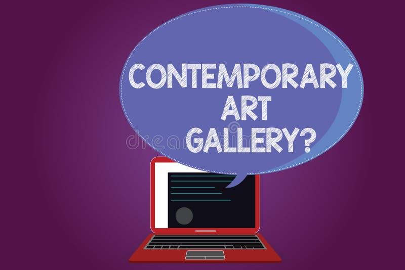 显示当代艺术Galleryquestion的文本标志 概念性照片私有forprofit商业画廊证明 库存例证