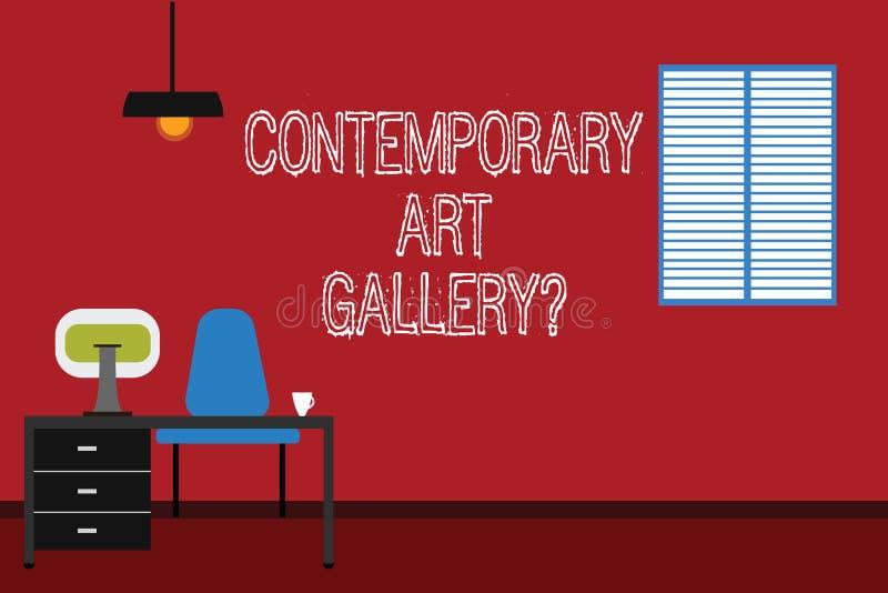 显示当代艺术Galleryquestion的概念性手文字 企业照片文本私有forprofit商务 向量例证
