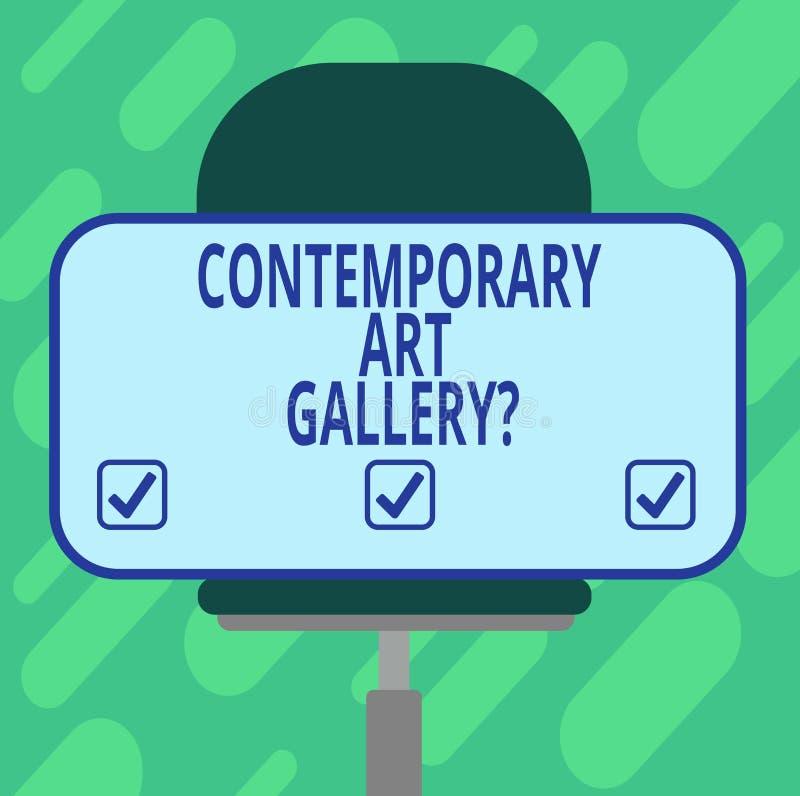显示当代艺术Galleryquestion的概念性手文字 陈列私有forprofit商务的企业照片 皇族释放例证