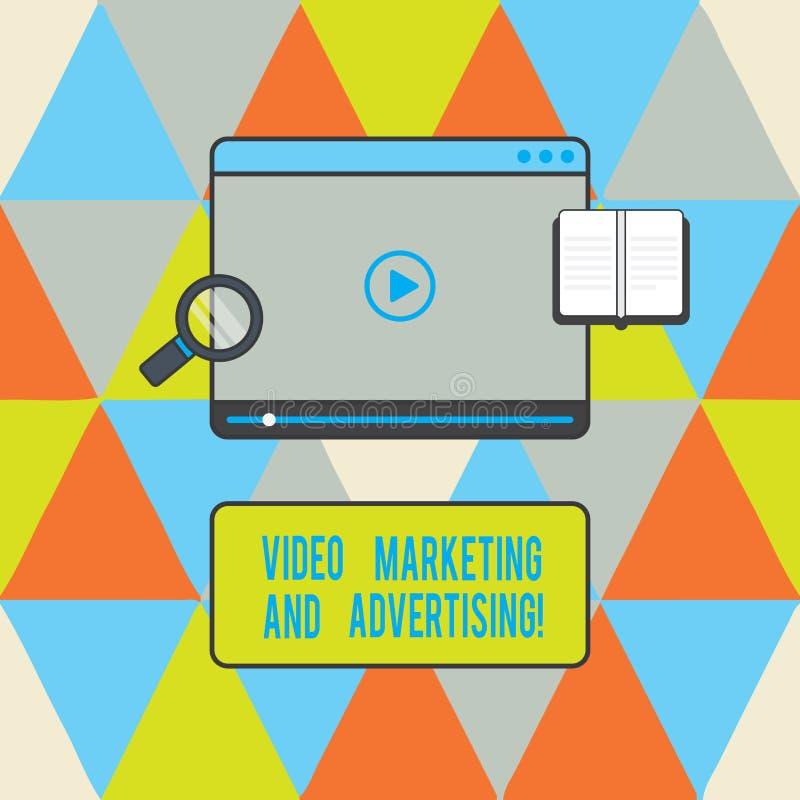 显示录影行销和做广告的文本标志 概念性照片促进竞选活动最优策略片剂图象播放机 库存例证