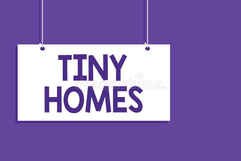 显示微小的家的概念性手文字 企业照片陈列的房子便宜地包含一个室或两和仅小入口 向量例证