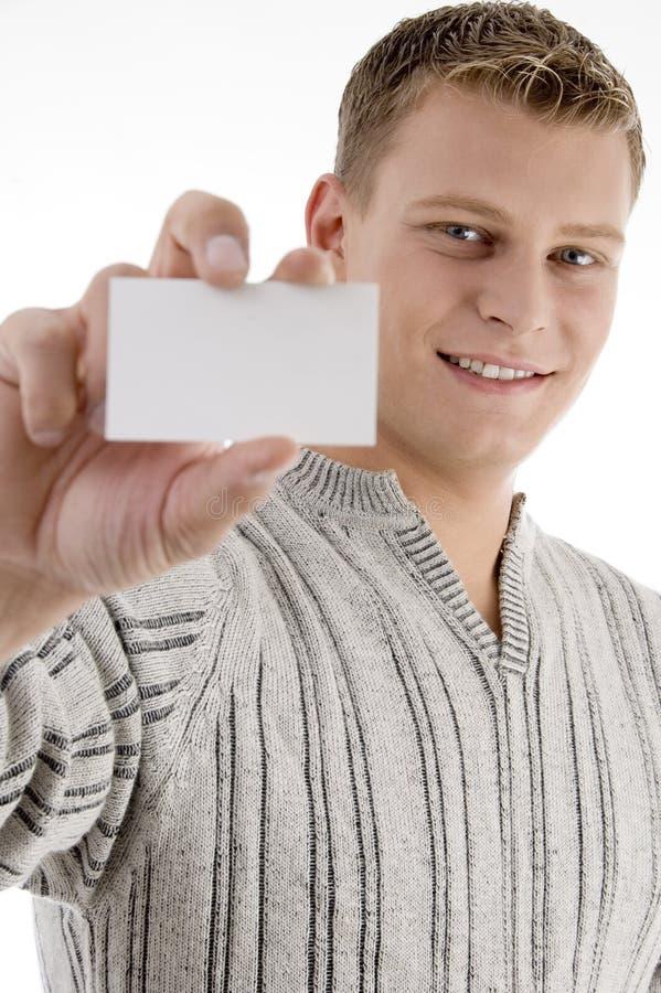 显示微笑的名片人 免版税图库摄影
