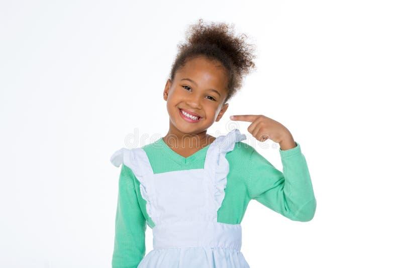 显示微笑的小女孩 库存图片