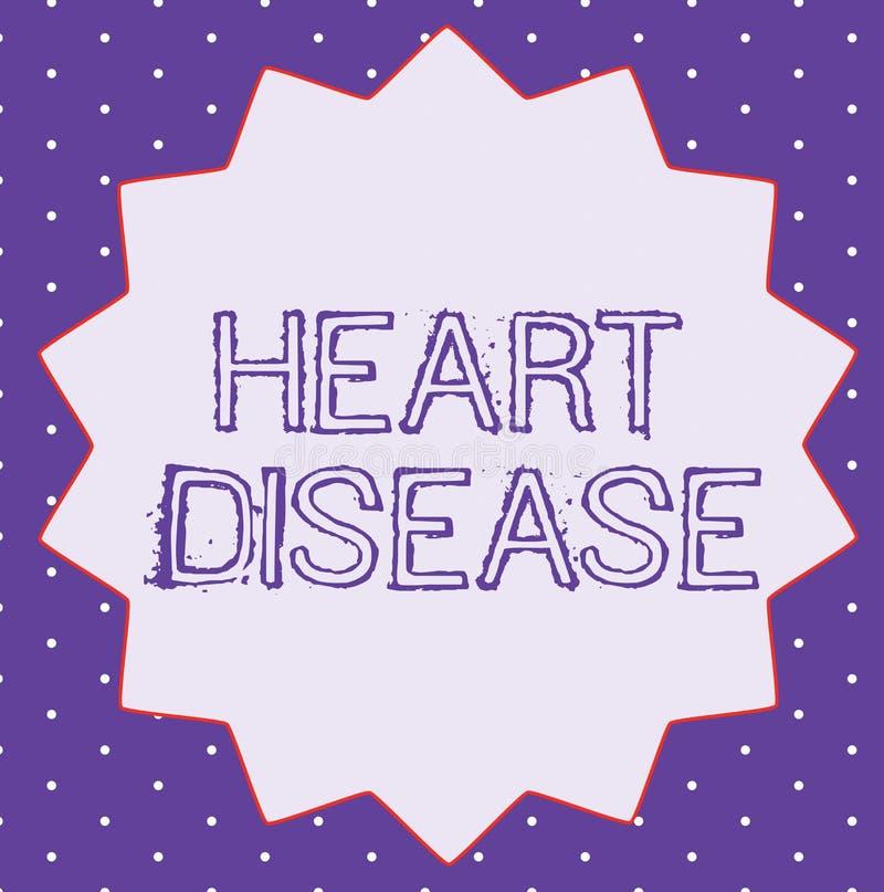 显示心脏病的概念性手文字 企业照片文本介入封锁的血液的心脏病情况 库存例证