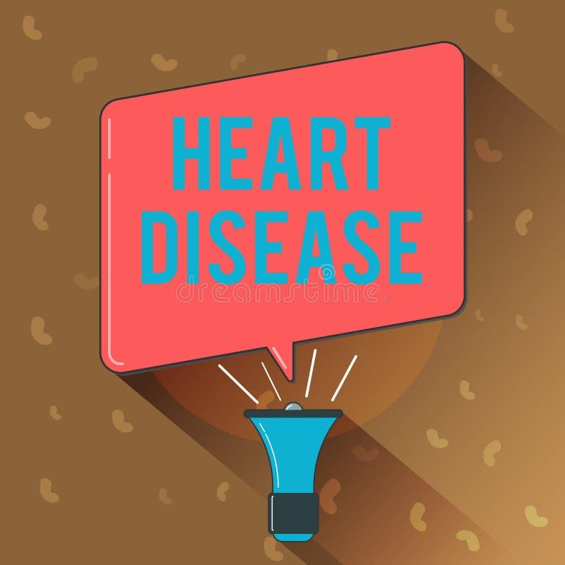 显示心脏病的概念性手文字 企业照片文本介入封锁的血液的心脏病情况 向量例证