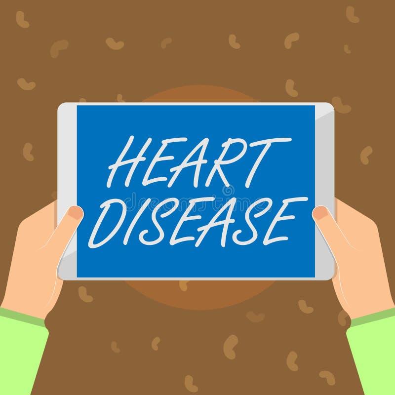 显示心脏病的概念性手文字 企业照片文本介入封锁的血液的心脏病情况 皇族释放例证