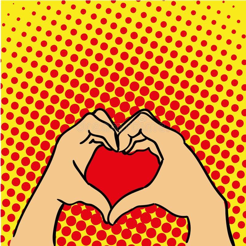 显示心脏的手 向量例证