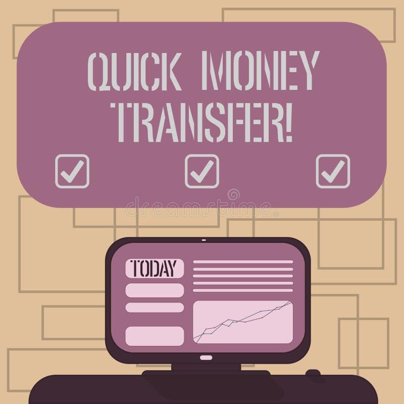 显示快的汇款的文本标志 概念性照片捷径电子上移动金钱或完全登上 向量例证