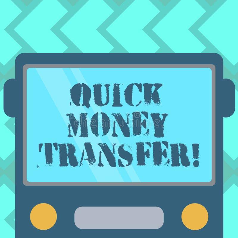 显示快的汇款的文本标志 概念性照片捷径电子上移动金钱或平展完全画 皇族释放例证