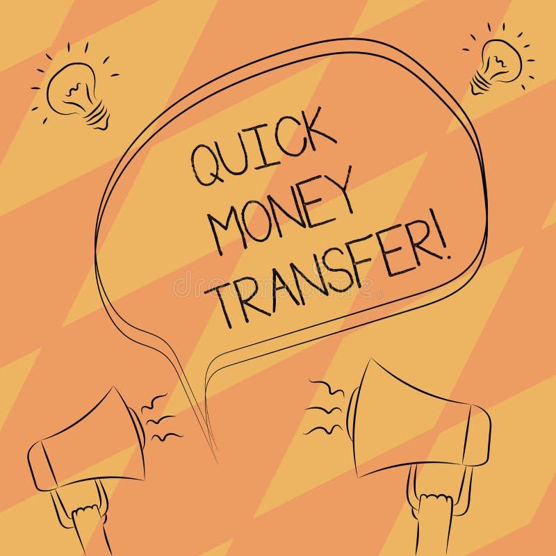 显示快的汇款的文本标志 概念性照片捷径移动金钱电子上或完全徒手画的概述 皇族释放例证
