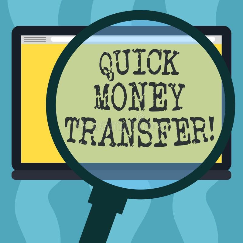 显示快的汇款的概念性手文字 陈列捷径的企业照片电子上移动金钱或 向量例证
