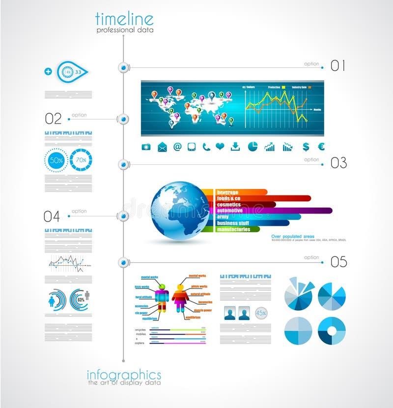 显示您的与Infographic元素的数据的时间安排 库存例证