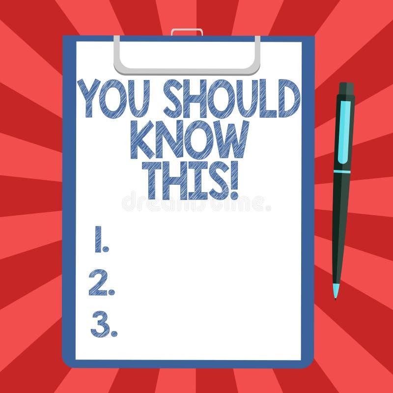 显示您的概念性手文字应该认识此 企业照片文本推荐知道被通知的新的事件 库存例证