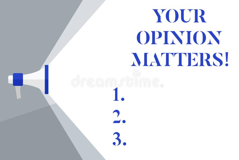 显示您的观点事态的文字笔记 企业照片陈列的客户反馈回顾是重要扩音机 向量例证