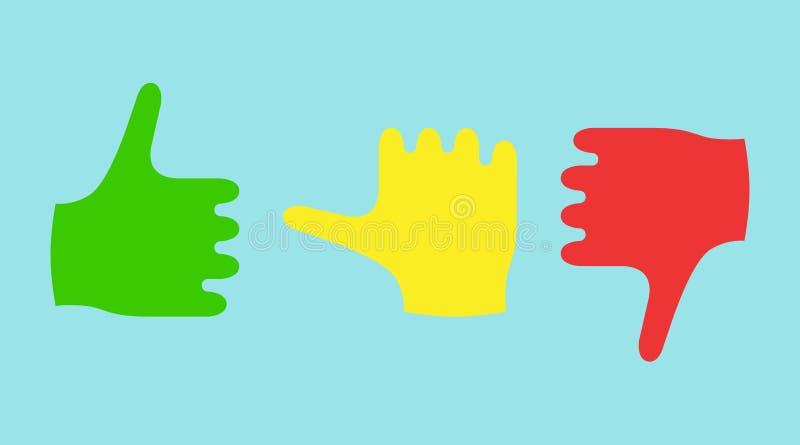 显示情感的颜色拇指 向量例证