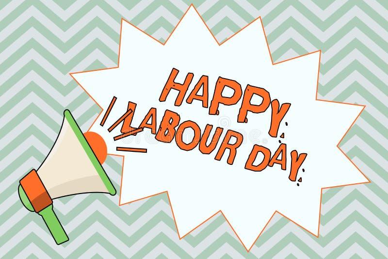 显示愉快的劳动节的文字笔记 陈列例假的企业照片庆祝工作者的成就 库存例证