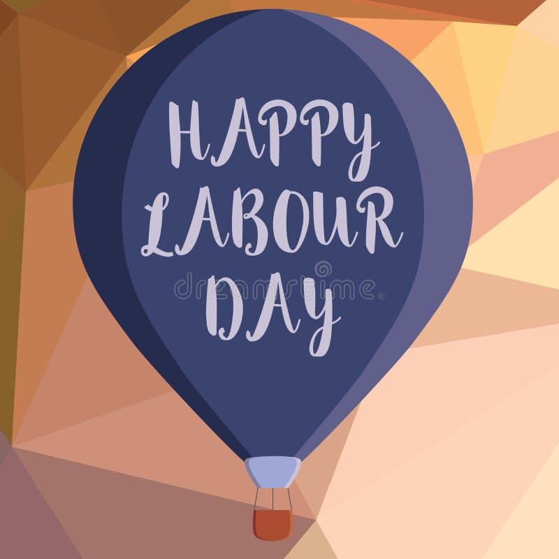 显示愉快的劳动节的文字笔记 陈列例假的企业照片庆祝工作者的成就 向量例证