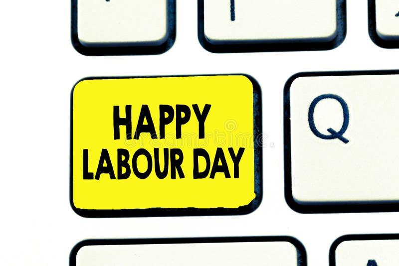 显示愉快的劳动节的文本标志 概念性庆祝工作者的成就的照片例假 向量例证