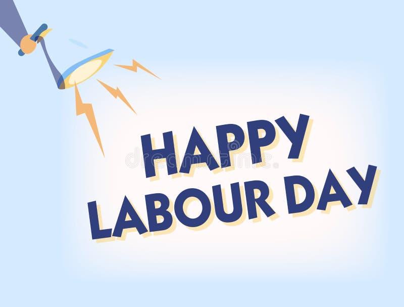 显示愉快的劳动节的概念性手文字 庆祝工作者的成就的企业照片文本例假 库存例证