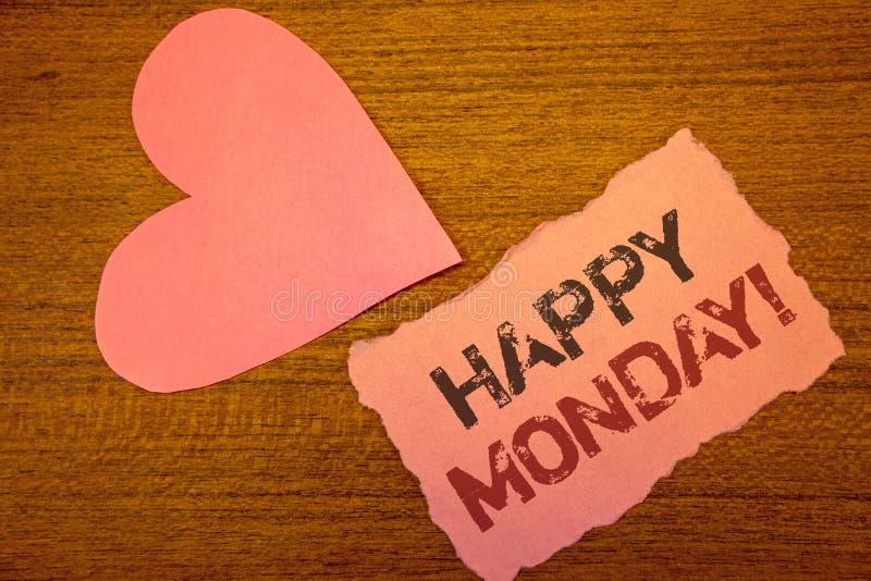 显示愉快的星期一诱导电话的文本标志 祝愿您的概念性照片有一个好开始为星期 免版税库存图片