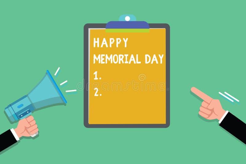 显示愉快的阵亡将士纪念日的文字笔记 企业照片陈列的尊敬记住在兵役死的那些人 皇族释放例证