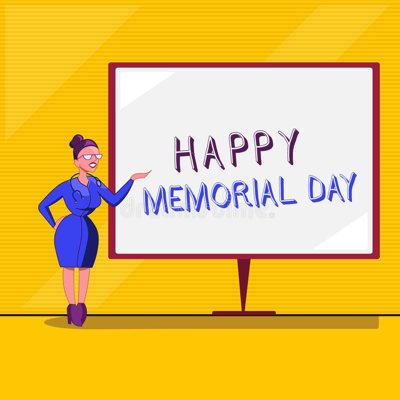 显示愉快的阵亡将士纪念日的文本标志 尊敬概念性的照片记住在兵役死的那些人 向量例证