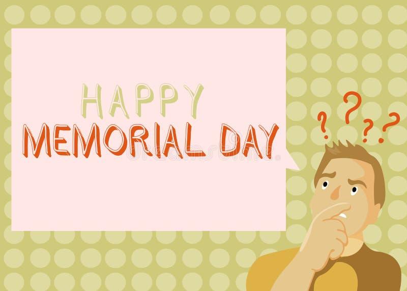 显示愉快的阵亡将士纪念日的概念性手文字 企业照片陈列的尊敬记住死的那些人 库存例证