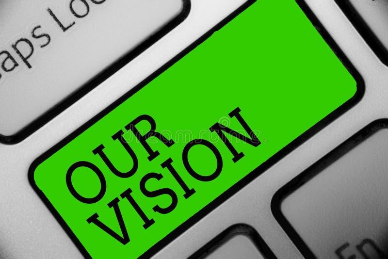显示我们的视觉的文本标志 概念性照片计划关于将被做键盘绿色钥匙的公司目标的以后五到十年我 库存例证