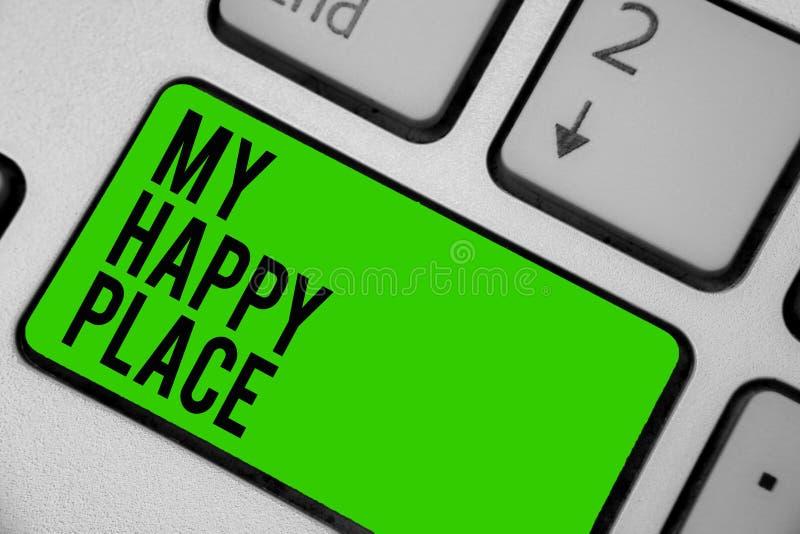 显示我愉快的地方的文字笔记 企业照片陈列的空间您感觉舒适的愉快的轻松的被启发的键盘gr的地方 向量例证