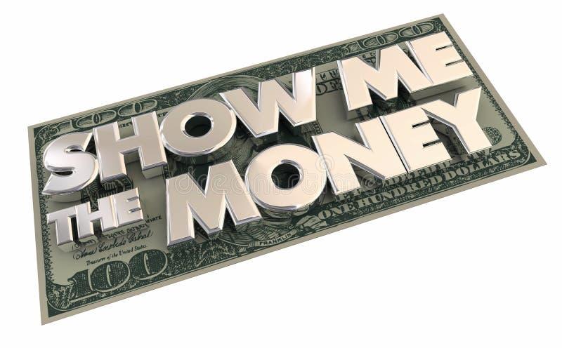 显示我金钱现金收入合同 向量例证