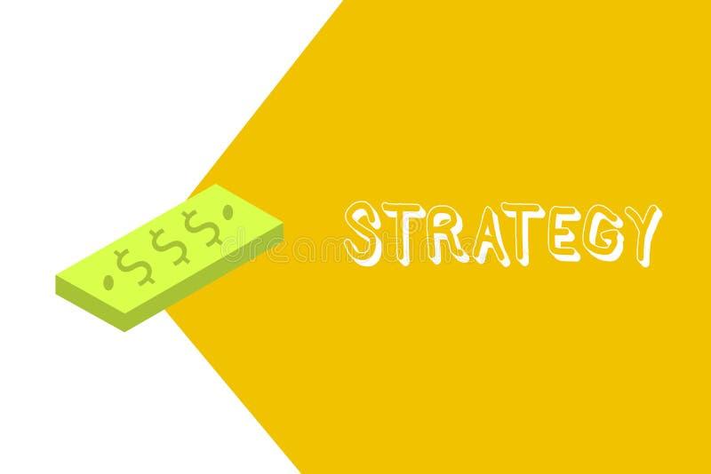 显示战略的文字笔记 企业照片陈列的行动计划设计达到长期或整体目标 库存例证