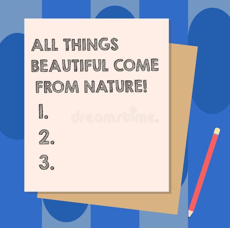 显示所有事美丽的概念性手文字来自自然 陈列自然事的企业照片是最俏丽的 向量例证