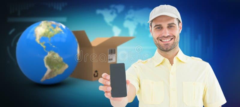 显示手机的英俊的送货人的综合3d图象 库存照片