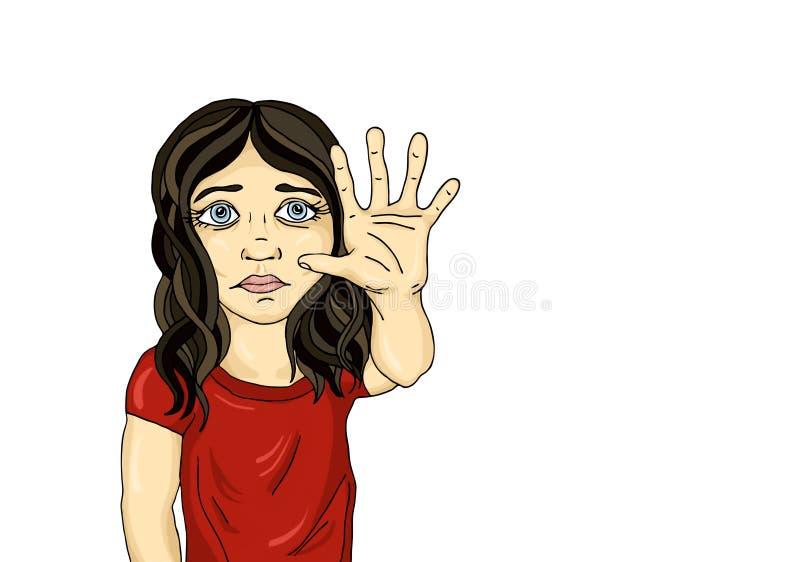 显示手标志足够的恼怒和不快乐的女孩 暴力 库存例证