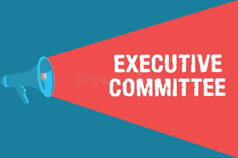 显示执行委员会的文字笔记 企业照片陈列的小组主任任命有当局  库存例证
