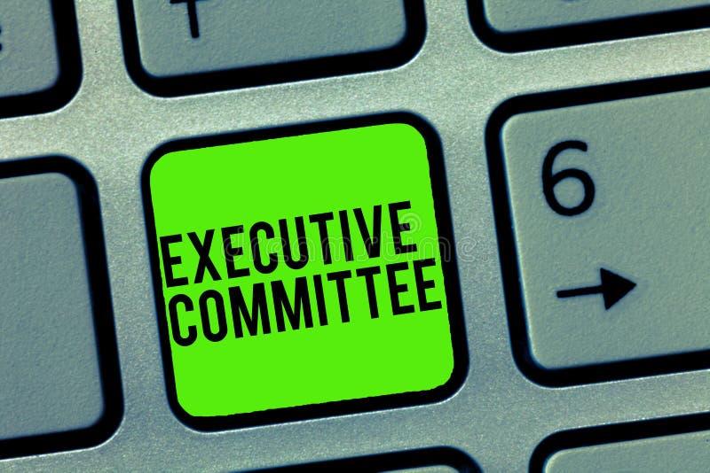 显示执行委员会的文本标志 概念性照片小组主任任命有当局在决定 库存图片