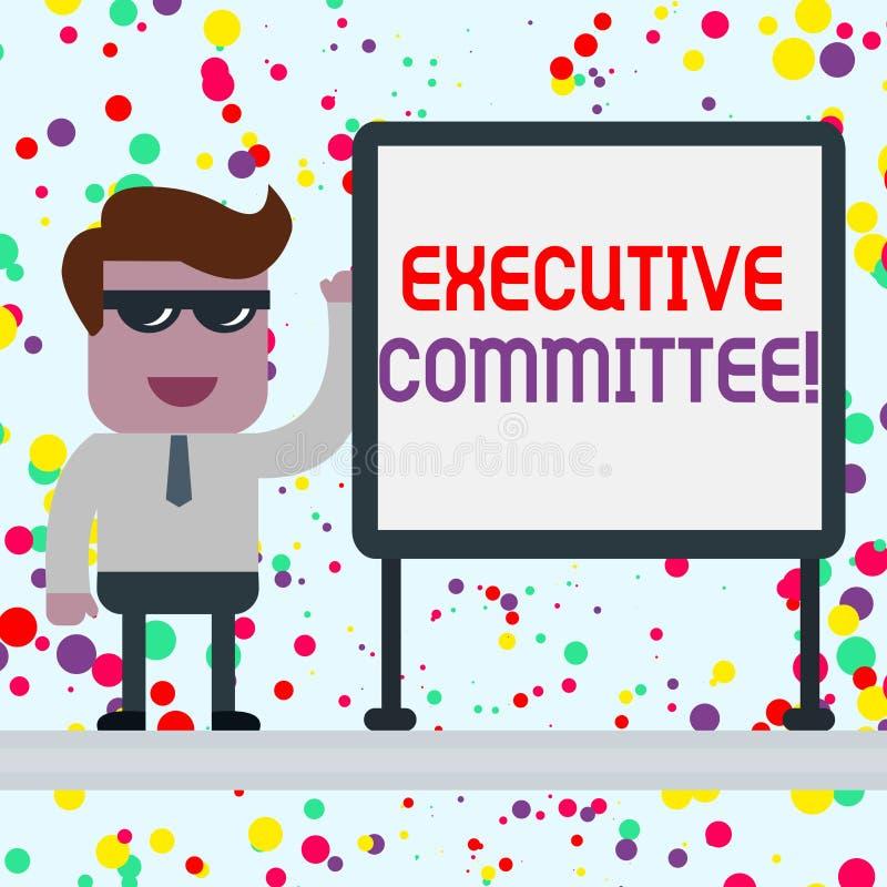 显示执行委员会的概念性手文字 企业照片陈列的小组主任任命有 皇族释放例证