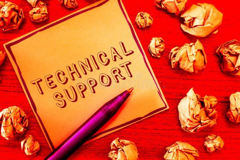 显示技术支持的文本标志 为他们的产品的用户的概念性照片修理和忠告服务 免版税库存照片