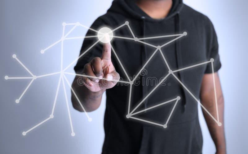 显示技术点连接的全息图 库存图片