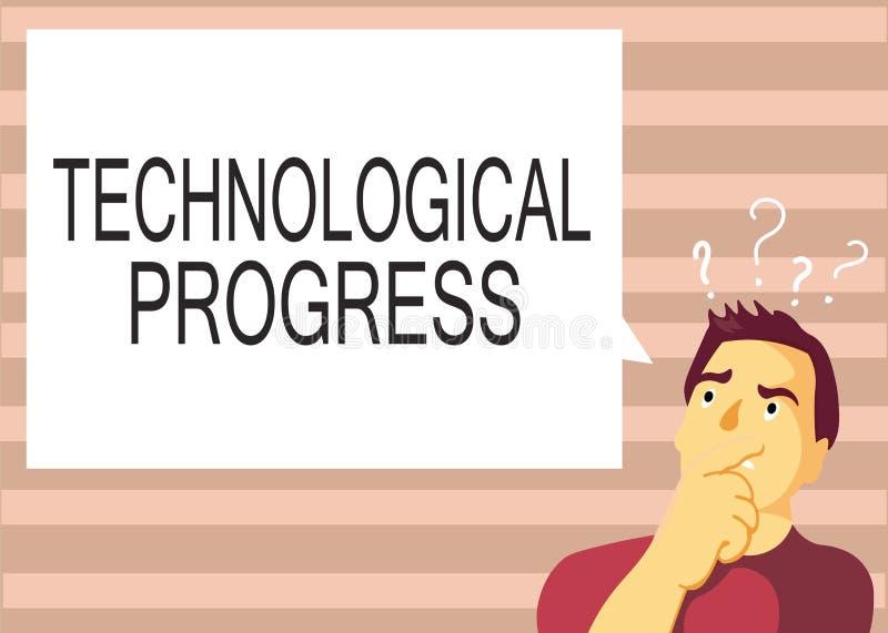 显示技术进展的文本标志 概念性发明创新扩散的照片整体过程 库存例证