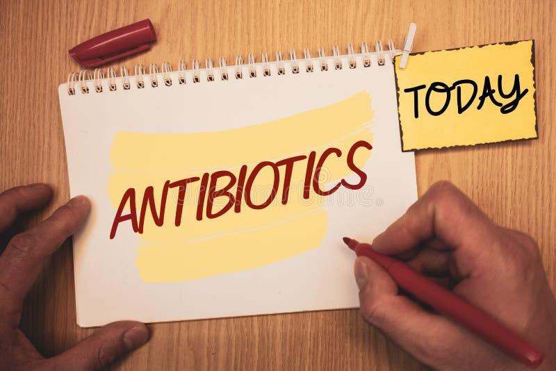 显示抗生素的文本标志 概念性照片在细菌infectionsMan创造的治疗和预防服麻醉剂使用为tod 免版税库存图片