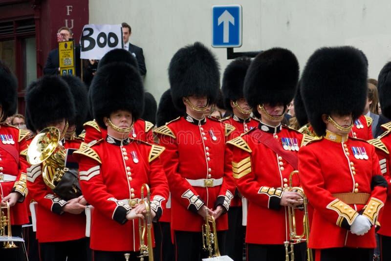 在撒切尔男爵夫人的葬礼的抗议 免版税图库摄影