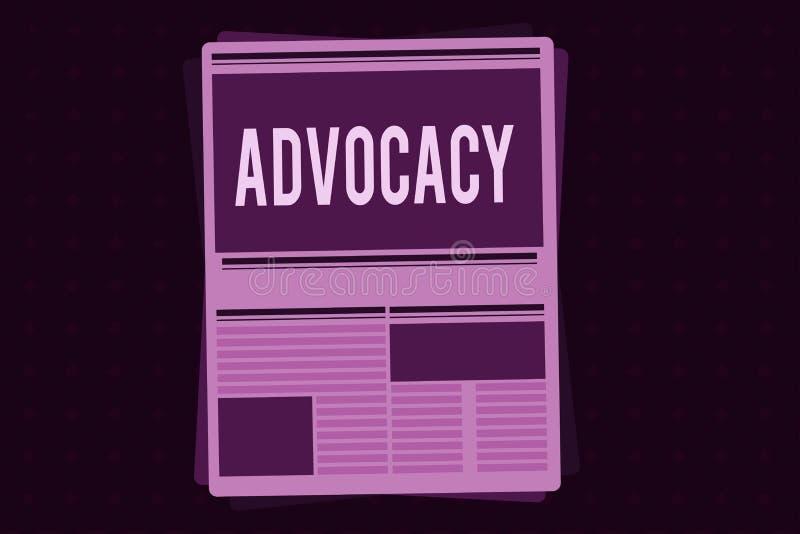 显示拥护的概念性手文字 公开法律提倡者律师的工作企业照片陈列的行业  库存例证