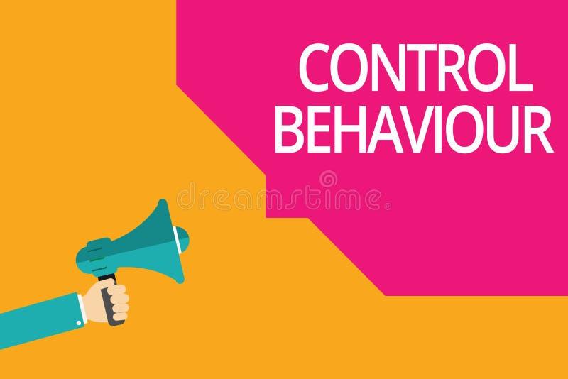 显示控制行为的概念性手文字 企业照片影响和当局文本锻炼在人 库存例证