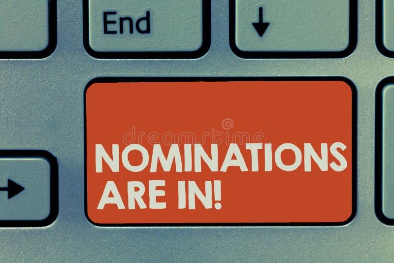 显示提名的文本标志  正式地选择某人的概念性照片奖的正式候选人 库存照片