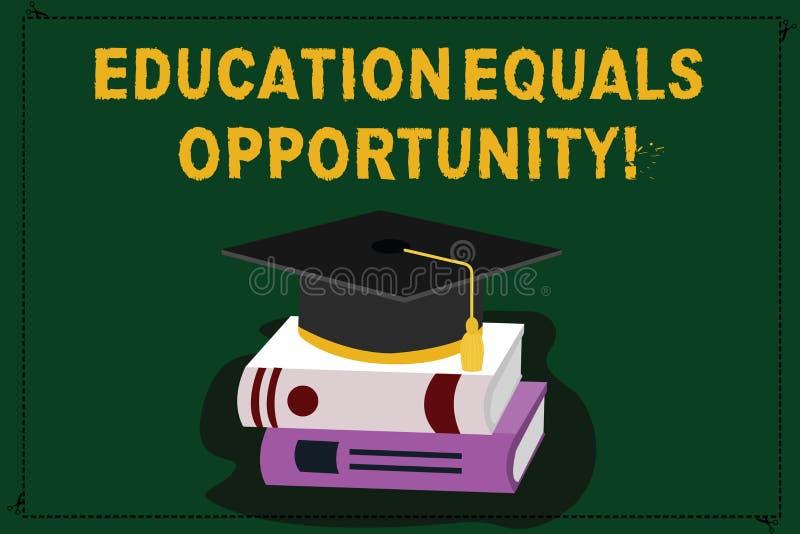 显示教育机会均等的文本标志 概念性照片相似的权利获取在学校颜色的知识 库存例证