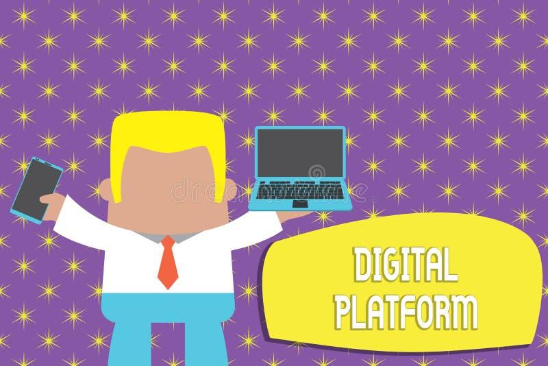 显示数字平台的概念性手文字 企业照片陈列的市场活动或烙记的新产品 库存例证