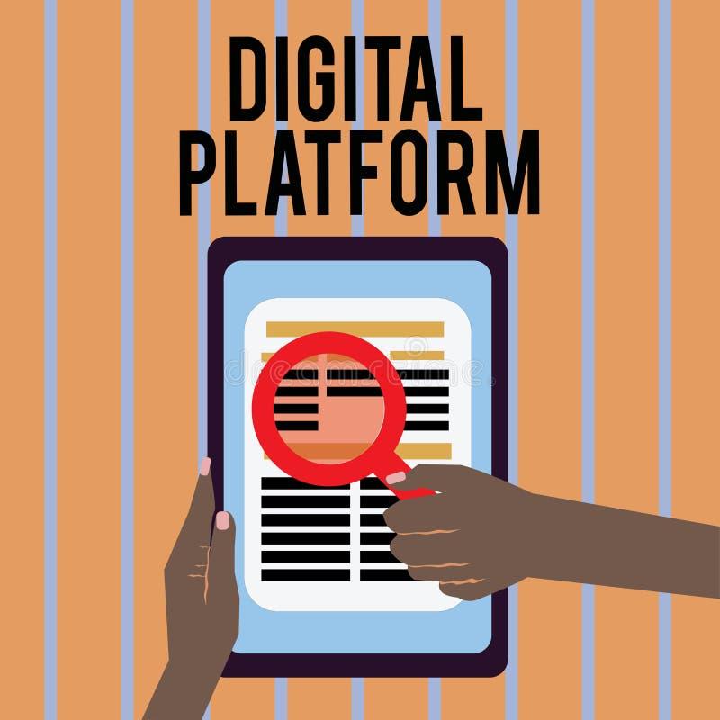 显示数字式平台的概念性手文字 企业照片文本市场活动或烙记的新产品服务 向量例证