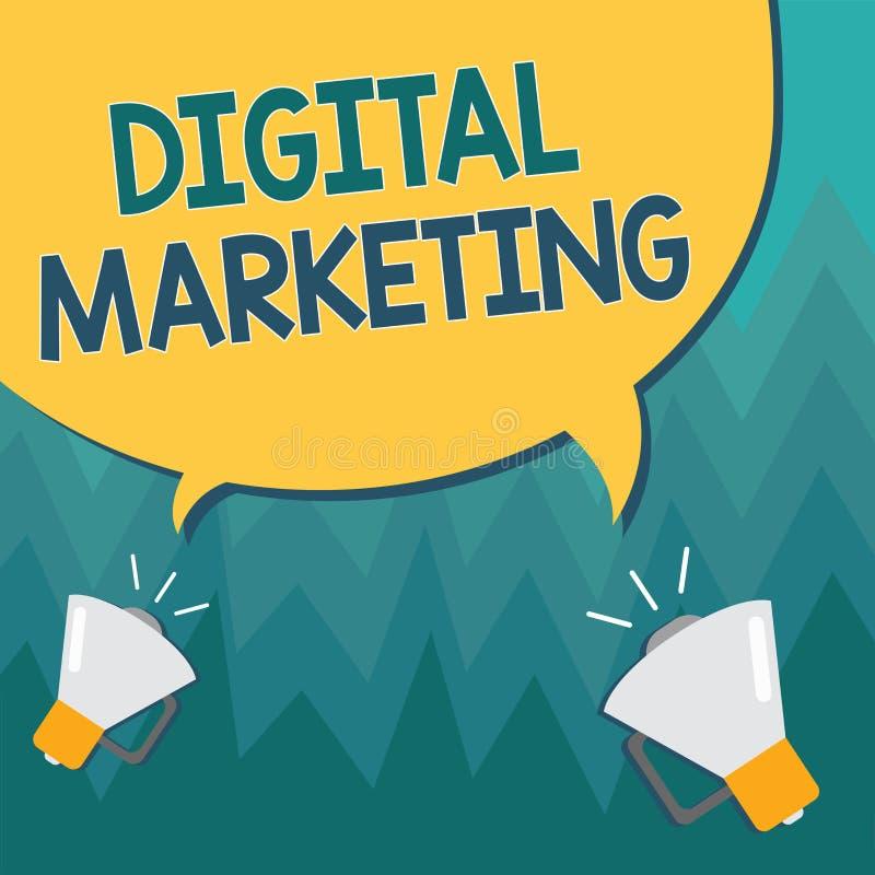 显示数字式行销的概念性手文字 产品或品牌的企业照片陈列的促进通过电子媒介 向量例证